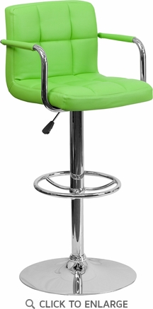 Contemporary Green Quilted Vinyl Adjustable Height Barstool with Arms and Chrome Base [CH-102029-GRN-GG]