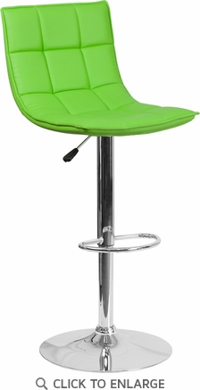 Contemporary Green Quilted Vinyl Adjustable Height Barstool with Chrome Base [CH-92026-1-GRN-GG]