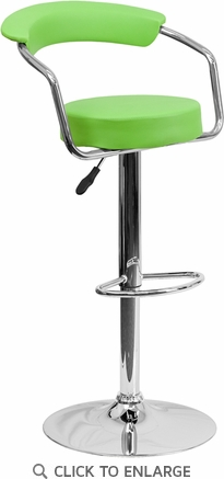 Contemporary Green Vinyl Adjustable Height Barstool with Arms and Chrome Base [CH-TC3-1060-GRN-GG]