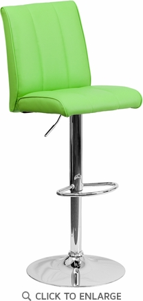 Contemporary Green Vinyl Adjustable Height Barstool with Chrome Base [CH-122090-GRN-GG]