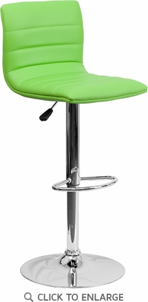 Contemporary Green Vinyl Adjustable Height Barstool with Chrome Base [CH-92023-1-GRN-GG]