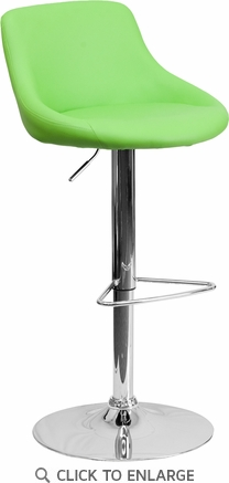 Contemporary Green Vinyl Bucket Seat Adjustable Height Barstool with Chrome Base [CH-82028-MOD-GRN-GG]