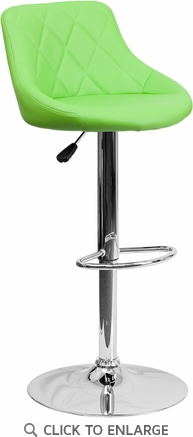 Contemporary Green Vinyl Bucket Seat Adjustable Height Barstool with Chrome Base [CH-82028A-GRN-GG]