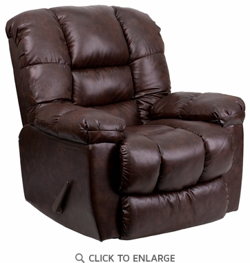 Contemporary New Era Walnut Leather Chaise Rocker Recliner
