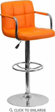 Contemporary Orange Quilted Vinyl Adjustable Height Barstool with Arms and Chrome Base [CH-102029-ORG-GG]