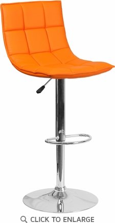 Contemporary Orange Quilted Vinyl Adjustable Height Barstool with Chrome Base [CH-92026-1-ORG-GG]