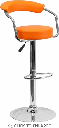 Contemporary Orange Vinyl Adjustable Height Barstool with Arms and Chrome Base [CH-TC3-1060-ORG-GG]