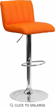Contemporary Orange Vinyl Adjustable Height Barstool with Chrome Base [CH-112010-ORG-GG]
