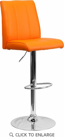Contemporary Orange Vinyl Adjustable Height Barstool with Chrome Base [CH-122090-ORG-GG]