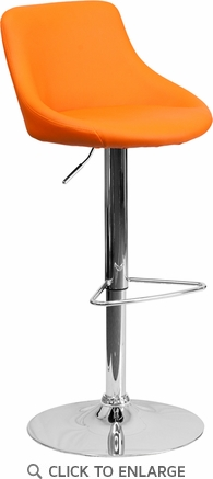 Contemporary Orange Vinyl Bucket Seat Adjustable Height Barstool with Chrome Base [CH-82028-MOD-ORG-GG]