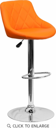 Contemporary Orange Vinyl Bucket Seat Adjustable Height Barstool with Chrome Base [CH-82028A-ORG-GG]