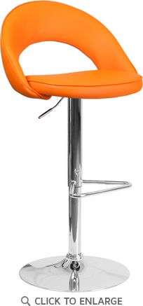Contemporary Orange Vinyl Rounded Back Adjustable Height Barstool with Chrome Base [CH-132491-ORG-GG]