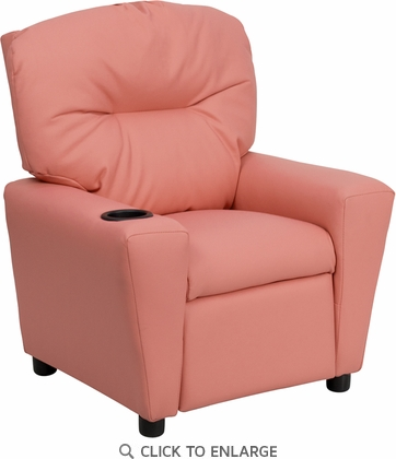 Contemporary Pink Vinyl Kids Recliner with Cup Holder