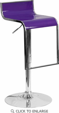 Contemporary Purple Plastic Adjustable Height Barstool with Chrome Drop Frame [CH-TC3-1027P-PUR-GG]