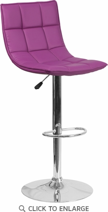 Contemporary Purple Quilted Vinyl Adjustable Height Barstool with Chrome Base [CH-92026-1-PUR-GG]
