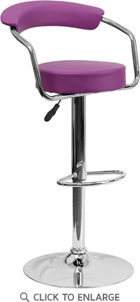 Contemporary Purple Vinyl Adjustable Height Barstool with Arms and Chrome Base [CH-TC3-1060-PUR-GG]