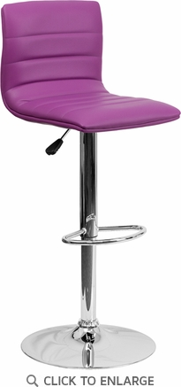 Contemporary Purple Vinyl Adjustable Height Barstool with Chrome Base [CH-92023-1-PUR-GG]