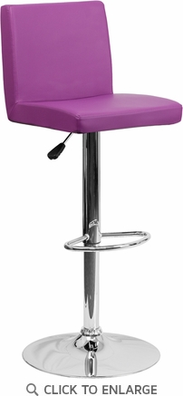 Contemporary Purple Vinyl Adjustable Height Barstool with Chrome Base [CH-92066-PUR-GG]