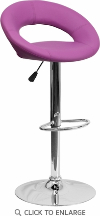 Contemporary Purple Vinyl Rounded Back Adjustable Height Barstool with Chrome Base [DS-811-PUR-GG]