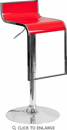 Contemporary Red Plastic Adjustable Height Barstool with Chrome Drop Frame [CH-TC3-1027P-RED-GG]