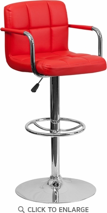 Contemporary Red Quilted Vinyl Adjustable Height Barstool with Arms and Chrome Base [CH-102029-RED-GG]