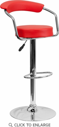 Contemporary Red Vinyl Adjustable Height Barstool with Arms and Chrome Base [CH-TC3-1060-RED-GG]