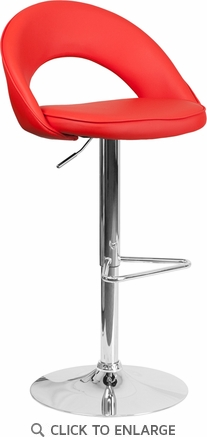 Contemporary Red Vinyl Rounded Back Adjustable Height Barstool with Chrome Base [CH-132491-RED-GG]