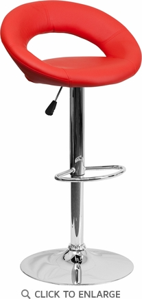 Contemporary Red Vinyl Rounded Back Adjustable Height Barstool with Chrome Base [DS-811-RED-GG]
