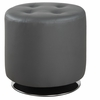 Contemporary Round Swivel Ottoman with Tufted Leatherette Upholstery 500555