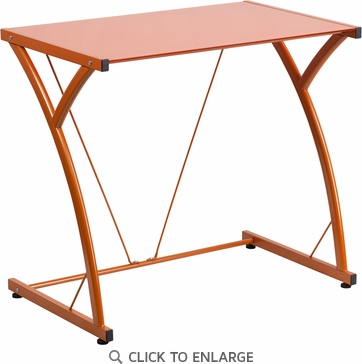 Contemporary Tempered Orange Glass Computer Desk with Matching Frame [NAN-WK-SD-02-OR-GG]