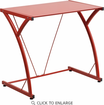 Contemporary Tempered Red Glass Computer Desk with Matching Frame [NAN-WK-SD-02-RED-GG]
