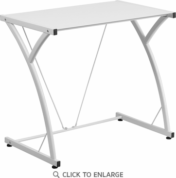 Contemporary Tempered White Glass Computer Desk with Matching Frame [NAN-WK-SD-02-WH-GG]