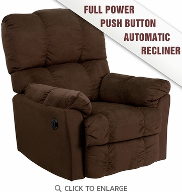 Contemporary Top Hat Chocolate Microfiber Power Recliner