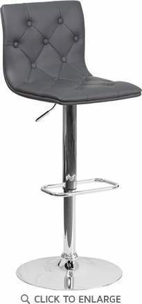 Contemporary Tufted Gray Vinyl Adjustable Height Barstool with Chrome Base [CH-112080-GY-GG]