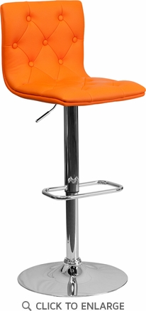 Contemporary Tufted Orange Vinyl Adjustable Height Barstool with Chrome Base [CH-112080-ORG-GG]