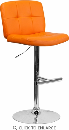 Contemporary Tufted Orange Vinyl Adjustable Height Barstool with Chrome Base [DS-829-ORG-GG]