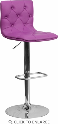 Contemporary Tufted Purple Vinyl Adjustable Height Barstool with Chrome Base [CH-112080-PUR-GG]