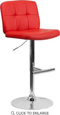 Contemporary Tufted Red Vinyl Adjustable Height Barstool with Chrome Base [DS-829-RED-GG]