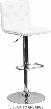 Contemporary Tufted White Vinyl Adjustable Height Barstool with Chrome Base [CH-112080-WH-GG]