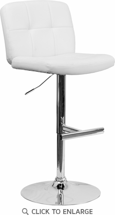 Contemporary Tufted White Vinyl Adjustable Height Barstool with Chrome Base [DS-829-WH-GG]