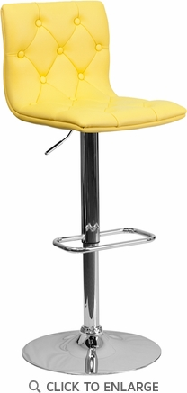 Contemporary Tufted Yellow Vinyl Adjustable Height Barstool with Chrome Base [CH-112080-YEL-GG]