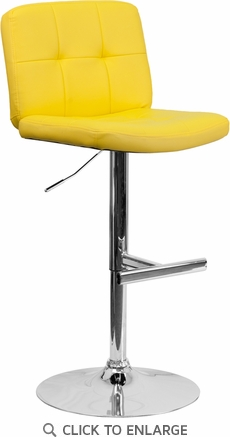 Contemporary Tufted Yellow Vinyl Adjustable Height Barstool with Chrome Base [DS-829-YEL-GG]