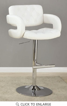 Contemporary White and Chrome Adjustable Bar Stool Chair by Coaster 102557