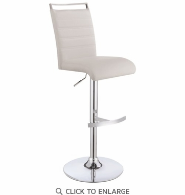 Contemporary White & Chrome Adjustable Height Bar Stool by Coaster 101146