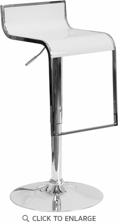 Contemporary White Plastic Adjustable Height Barstool with Chrome Drop Frame [CH-TC3-1027P-WH-GG]
