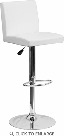 Contemporary White Vinyl Adjustable Height Barstool with Chrome Base [CH-92066-WH-GG]