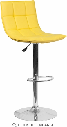 Contemporary Yellow Quilted Vinyl Adjustable Height Barstool with Chrome Base [CH-92026-1-YEL-GG]