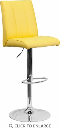 Contemporary Yellow Vinyl Adjustable Height Barstool with Chrome Base [CH-122090-YEL-GG]