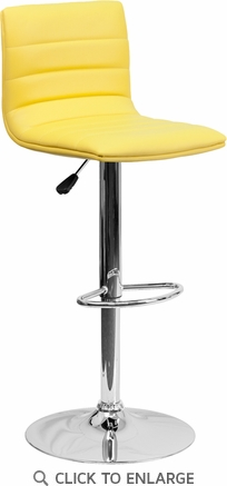 Contemporary Yellow Vinyl Adjustable Height Barstool with Chrome Base [CH-92023-1-YEL-GG]
