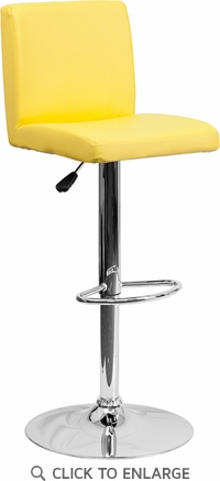 Contemporary Yellow Vinyl Adjustable Height Barstool with Chrome Base [CH-92066-YEL-GG]